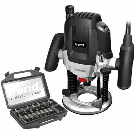 """Trend T7EK 1/2"""" 2100W Plunge Router 230V Variable Speed with 15 Piece Cutter Set:240V"""