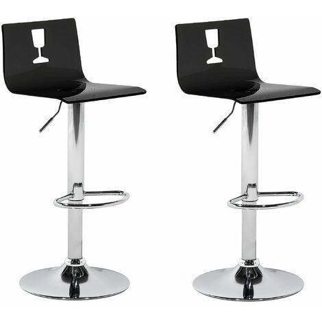 Trendy Barhocker 2er Set Transparent/Schwarz Metall Höhenverstellbar Modern