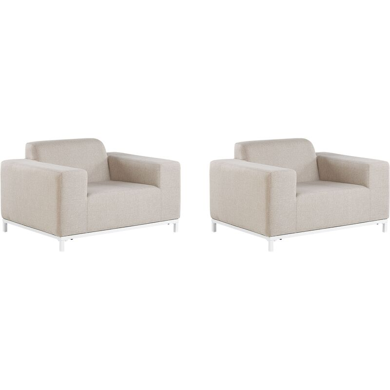 Beliani - Sessel Beige / weißes Gestell Polsterbezug Indoor & Outdoor Wohnzimmer Salon Balkon Terrasse