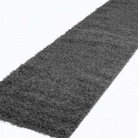 TRENDY Tapis de couloir Shaggy en polypropylene - 80 x 300 cm - Gris anthracite Nazar
