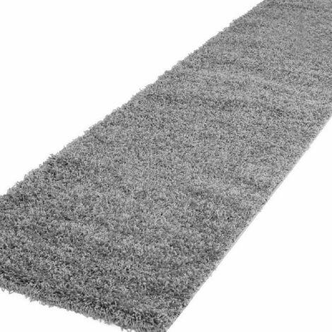 TRENDY Tapis de couloir Shaggy en polypropylene - 80 x 300 cm - Gris Nazar
