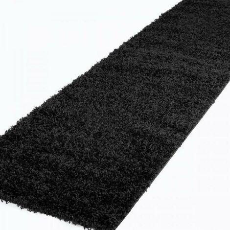 TRENDY Tapis de couloir Shaggy en polypropylene - 80 x 300 cm - Noir Nazar
