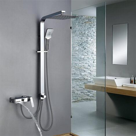 Duschpaneel Alu Regendusche Duscharmatur Badarmatur Dusch Viereckig Silbern neu