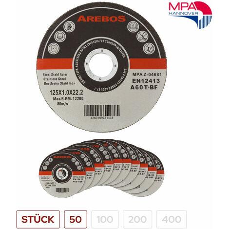 Trennscheiben (125 mm, 50 - 400 Stück, EN 12413) Flexscheiben Inox Edelstahl Extradünn Metall