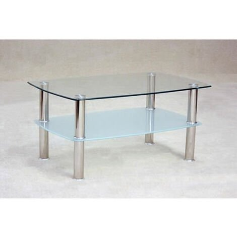 Trent Clear Glass Coffee Table With Glass Under Shelf