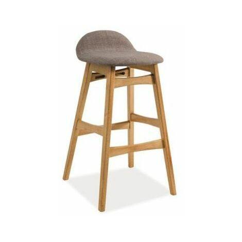TRENTE | Tabouret de bar style vintage | Dimension 87x37x37 cm | Siège en tissu + structure en bois | Chaise haute de cuisine - Gris