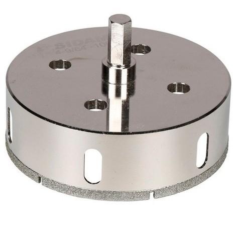 Trépan diamant à eau D.105 x 35 mm sur tige - Céramique/Grès/Granit - 11101417 - Sidamo - -