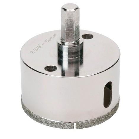 Trépan diamant à eau D.60 x 35 mm sur tige - Céramique/Grès/Granit - 11101412 - Sidamo