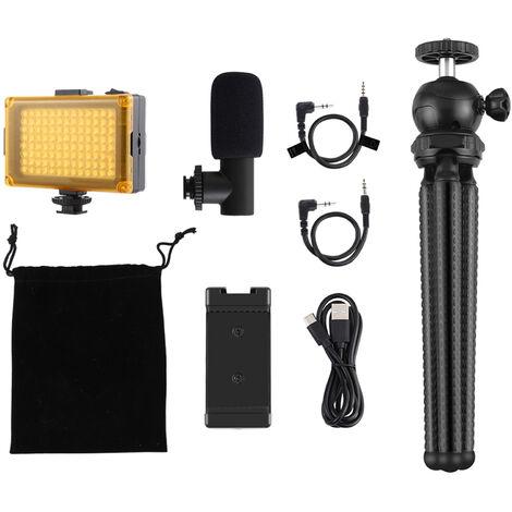 Trepied PULUZ Small Tuyau Octopus + Clip pour telephone portable + Microphone + Combo lumiere d'appoint Noir livre sans batterie