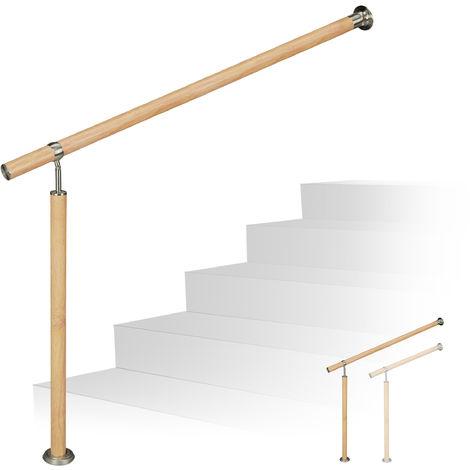 Treppengeländer, für innen & außen, Ø 42 mm, 90 cm hoch, Holzoptik, Aluminium & Edelstahl, 80 cm lang, braun