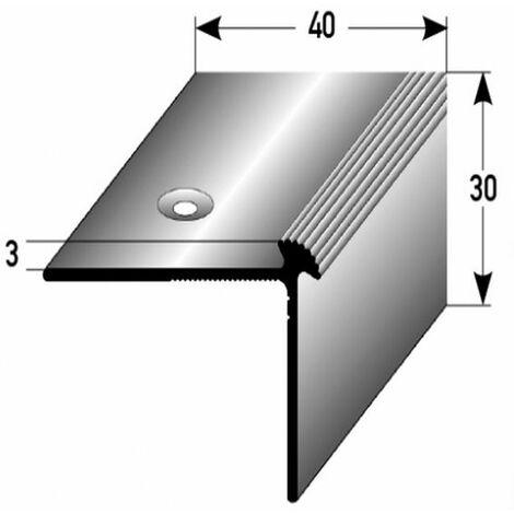 """Treppenkante """"Giffone"""" / Treppenkantenprofil / Winkelprofil (Größe 40 mm x 30 mm x 3 mm) aus Aluminium eloxiert, gebohrt, von Auer Metall-silber-1000"""
