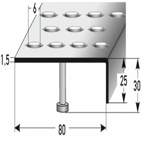 """Treppenkante """"Andria"""" / Winkelprofil (Größe 25 mm x 80 mm) aus Edelstahl matt, mit Anker, Rutschhemmungsklasse R12 DIN 51130, Prägelochung, gebohrt,"""