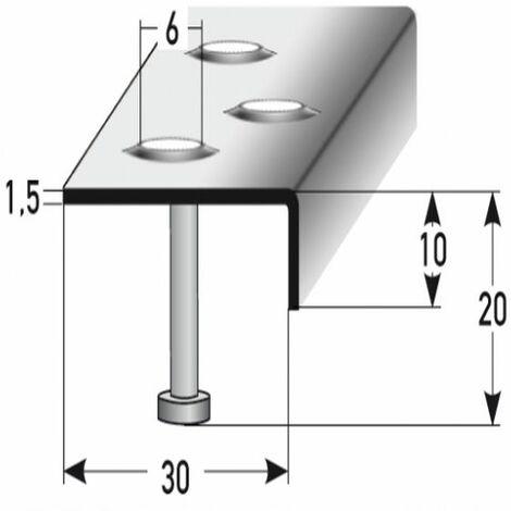 "Treppenkante ""Busca"" / Winkelprofil (Größe 10 mm x 30 mm) aus Edelstahl matt, Anker, Rutschhemmungsklasse R12 DIN 51130, Prägelochung, gebohrt"