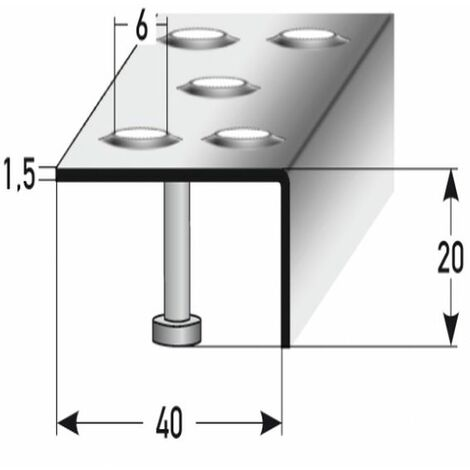 "Treppenkante ""Falerna"" / Winkelprofil (Größe 20 mm x 40 mm) aus Edelstahl matt, mit Anker, Rutschhemmungsklasse R12 DIN 51130, Prägelochung, gebohrt"