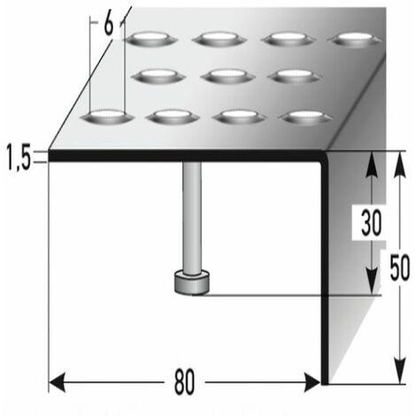 """Treppenkante """"Fano"""" / Winkelprofil (Größe 50 mm x 80 mm) aus Edelstahl matt, mit Anker, Rutschhemmungsklasse R12 DIN 51130, Prägelochung, gebohrt"""