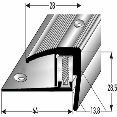 "Treppenkante für Laminat / Parkett Winkelprofil ""Altona"", Höhe 7 x15,5 mm, 28 mm breit, 3-teilig, Aluminium eloxiert, gebohrt, Flex"