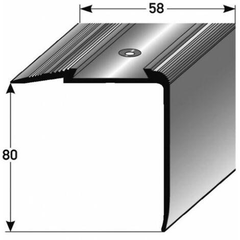 """Treppenkante """"Grava"""" / Kombiwinkel / Winkelprofil (Größe 80 mm x 58 mm) aus Aluminium eloxiert, gebohrt, von Auer Metall-silber-1000"""