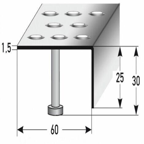 """Treppenkante """"Lana"""" / Winkelprofil (Größe 25 mm x 60 mm) aus Edelstahl matt, mit Anker, Rutschhemmungsklasse R12 DIN 51130,Prägelochung, gebohrt,"""