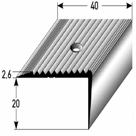 Treppenkante / Treppenkantenprofil / Winkelprofil (Größe 20 mm x 40 mm) aus Aluminium eloxiert, gebohrt von Auer Metall -silber-800