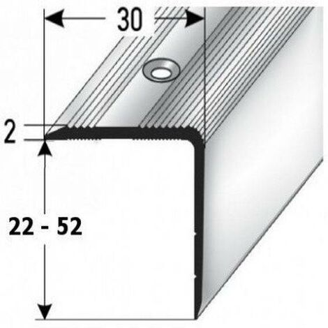 """Treppenkante / Treppenprofil """"Genua"""", Winkelprofil mit 30 mm Breite und konfigurierbarer Höhe (22 mm bis 52 mm), Aluminium eloxiert, gebohrt"""