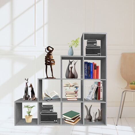 Treppenregal Raumteiler Bücherregal Standregal Stufenregal Betongrau 10 Fächer