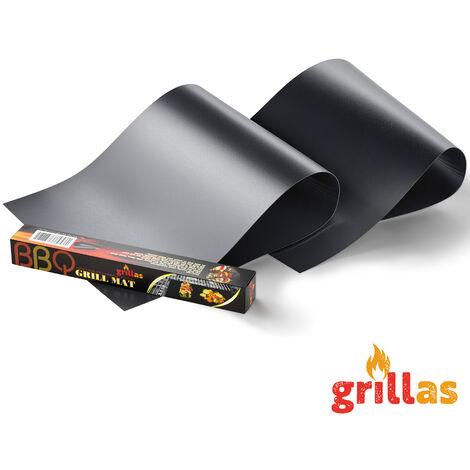 TRESKO® 2er Set PREMIUM Dauer BBQ Grillmatte Grillunterlage Teflon Backmatte Bratfolie