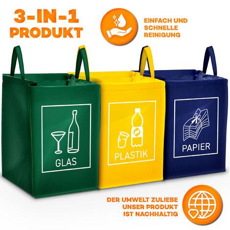 TRESKO® 3er Set Recycling Deutsch Müll Sortiertaschen Mülleimer Mülltrenner Trennsystem