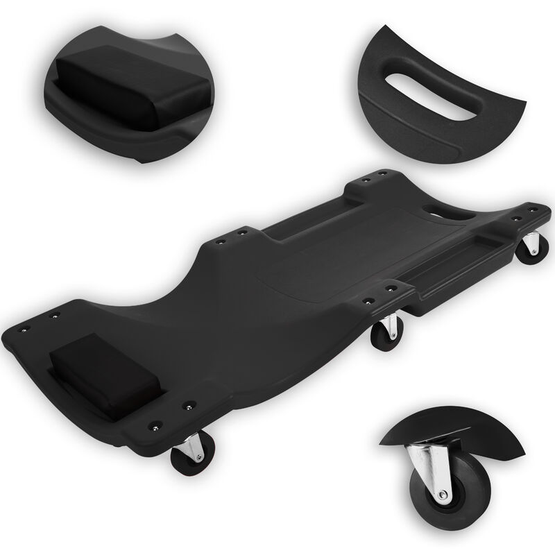 ® Camilla de montaje, Camilla de mecanico para taller con capacidad de giro de 360°, plataforma con ruedas con 2 portaobjetos, acolchado, para