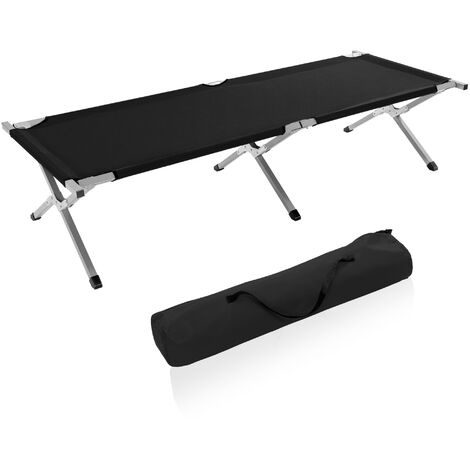 TRESKO Camp Bed | Folding Bed | Outdoor Camping | Sun Lounger | 190 x 64 x 44 cm | Portable with carry bag | Up to 150 kg carrying capacity | black