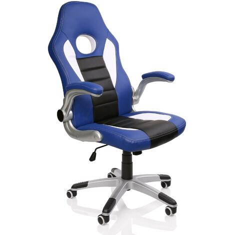 TRESKO® Office Swivel Chair with 74 cm High Back Large Seat and Tilt Function Executive Computer Chair PU (Blue / White / Black)