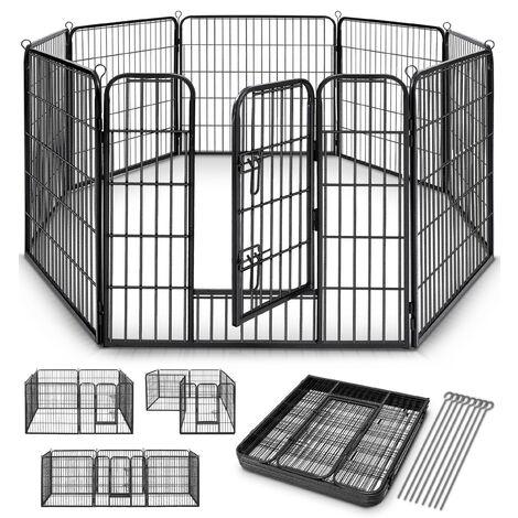 TRESKO® Parque para Mascotas Altura 80 cm   Valla para Perros y Gatos   Jaula Plegable para Animales   Corral Entrenamiento de Cachorros   8 Vallas