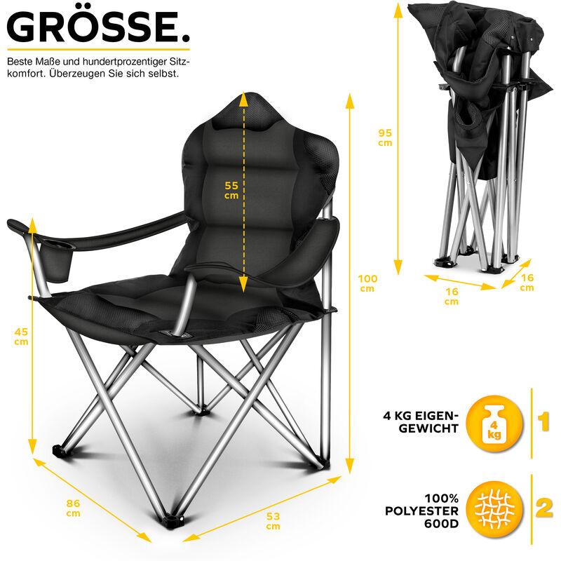 Silla de Pesca port/átil con reposabrazos y portabebidas hasta 150 kg TRESKO/® Silla de Camping Plegable y transportable