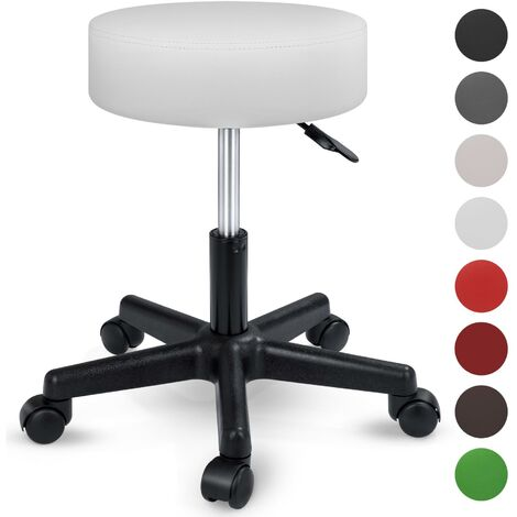 TRESKO® Swivel chair Office stool Beauty salon stool Medical stool Rollable stool, Adjustable height, with Wheels, 360 degree rotation, 10 cm cushion, 8 colours (White)