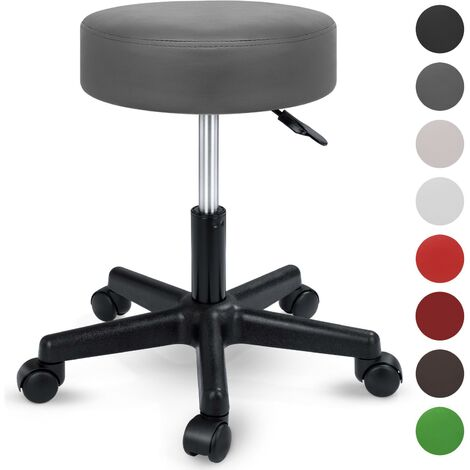 TRESKO® Swivel chair Office stool Beauty salon stool Medical stool Rollable stool, Adjustable height, with Wheels, 360 degree rotation, 10 cm cushion, 8 colours (Beige)
