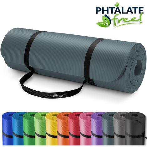 TRESKO Tapis d'exercice Fitness Tapis de Yoga Tapis de Pilates Tapis de Gymnastique, Dimensions 185 x 60 x 1,5 cm ou et 190 x 100 x 1,5 cm, sans Phtalates/en Mousse NBR/respecte la Peau