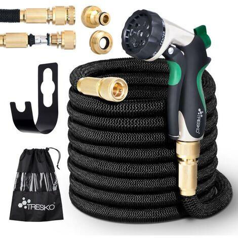 TRESKO® Tuyau d'arrosage flexible et extensible rétractable +pistolet d'arrosage