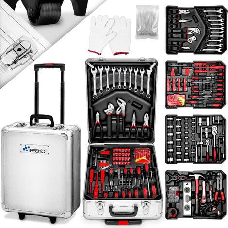 TRESKO Valise multi outils 949 pièces Argente Boite à Outils Coffre en Acier Chromé Vanadium et Trolley