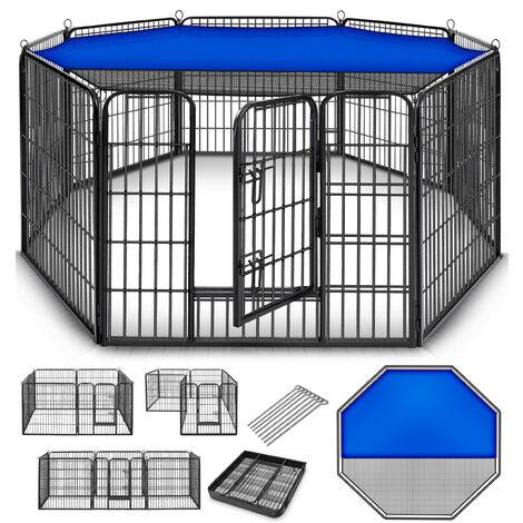 TRESKO® Welpenlaufstall Tierlaufstall Welpenauslauf Freigehege Hunde Laufstall 8 eckig