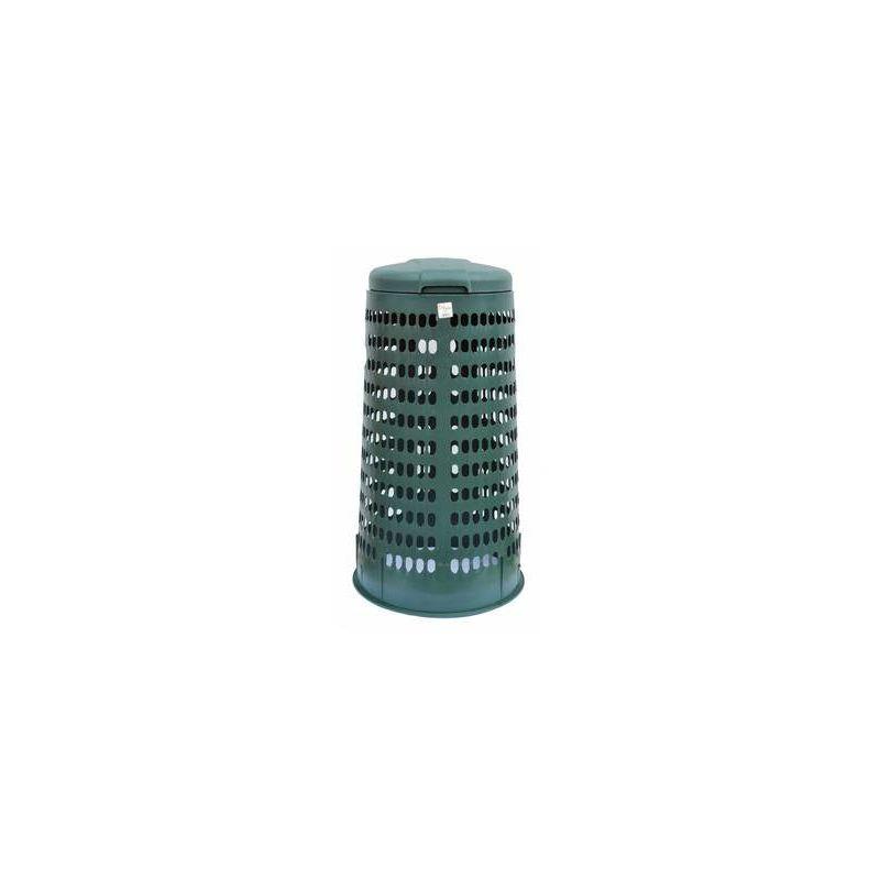 Trespolo bidone portasacco immondizia spazzatura c// coperchio blu cm.38x80h grigio