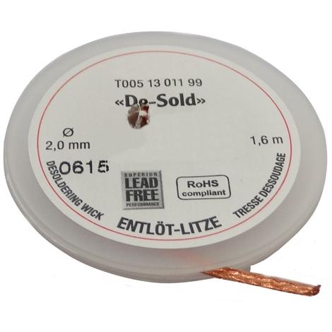 Tresse ruban bande à dessouder dessoudage cuivre 2mm/1.6m Flux