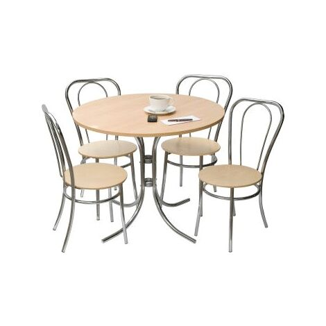 Trestile Round Bistro Kitchen Dining Table Set With 4 Chairs