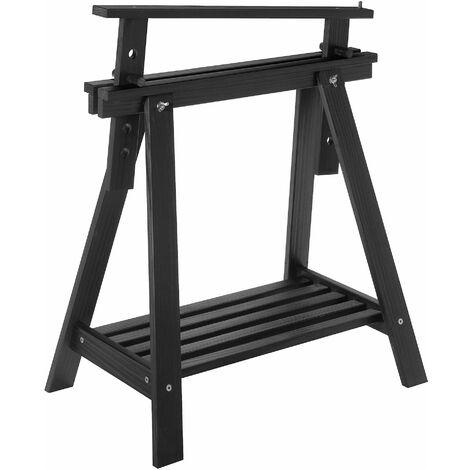 Tréteau Archi Tec noir réglable en hauteur en pin avec tablette (70/98,7x70x45cm)