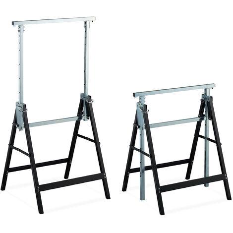 """main image of """"Tréteaux télescopiques, set 2, Chevalet pliable, poignée, 200 kg, 7- hauteur réglable 80-130 cm, noir-argenté"""""""