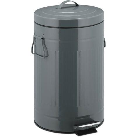 """Treteimer """"Retro"""" 12L, Inneneimer aus Kunststoff, runder Edelstahl Tretmülleimer, Bad und Küche, groß, grau"""