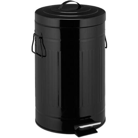 """Treteimer """"Retro"""" 12L, Inneneimer aus Kunststoff, runder Edelstahl Tretmülleimer, Bad und Küche, groß, schwarz"""