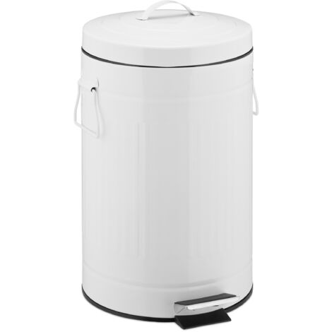"""Treteimer """"Retro"""" 12L, Inneneimer aus Kunststoff, runder Edelstahl Tretmülleimer, Bad und Küche, groß, weiß"""
