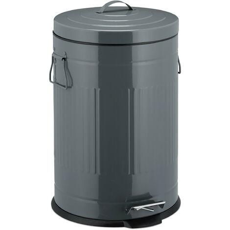 """Treteimer """"Retro"""" 20L, Inneneimer aus Kunststoff, runder Edelstahl Tretmülleimer, groß, Bad und Küche, grau"""