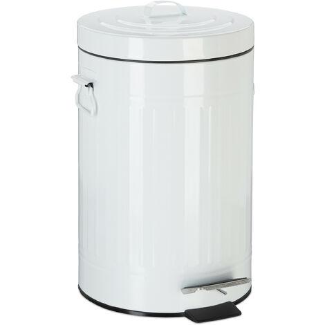Treteimer Vintage, Abfalleimer für Küche oder Bad, aus Metall, mit Tretfunktion, Kosmetikeimer, 12 Liter Weiß