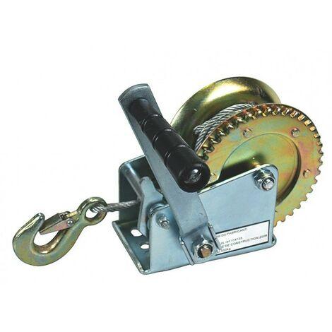 Treuil manuel tambour 550 kg - cable acier 10m