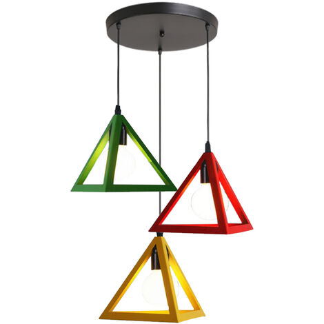 Triangle Cage Adjustable Lamp 3 Lights Vintage Hanging Light Colorful Industrial Pendant Lamp Creative 3 Color Chandelier Fixture for Kitchen Farmhouse Hallway Indoor(Red+Yellow+Green)